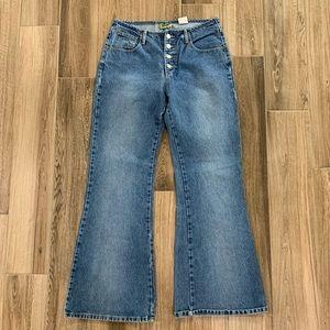 Vintage wide leg button up denim jeans 80s size 11